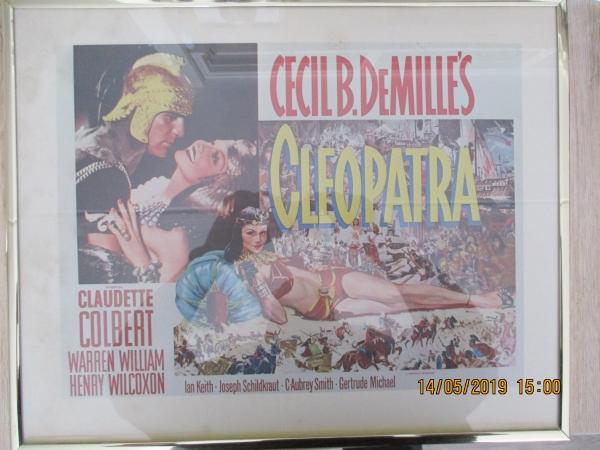 film poster Cleopatra in een gouden lijst met glas,  voor de film