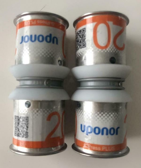 Uponor S-Press Plus perskoppeling sok 20mm (2 Stuks).