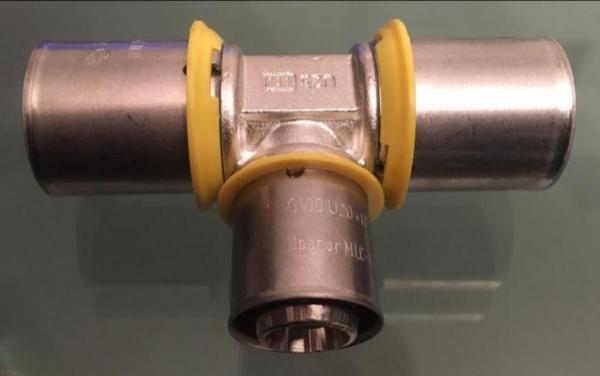 Uponor MLC- gas pers T-stuk verloop 25x20x25mm