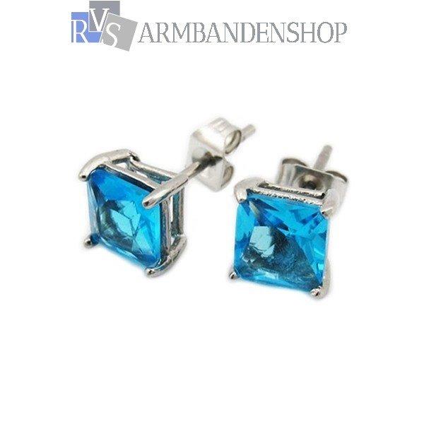 Div rvs oorbellen met nep diamant saffier robijn zirkonia