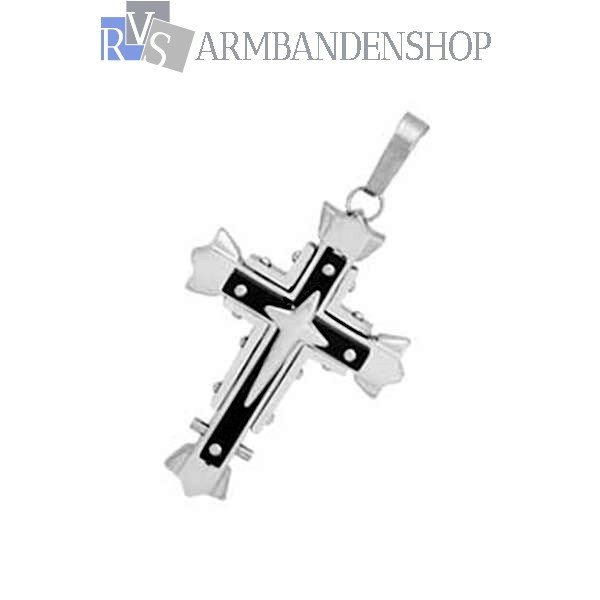 Div. rvs kruisjes kruishanger rozenkrans jezus op kruis