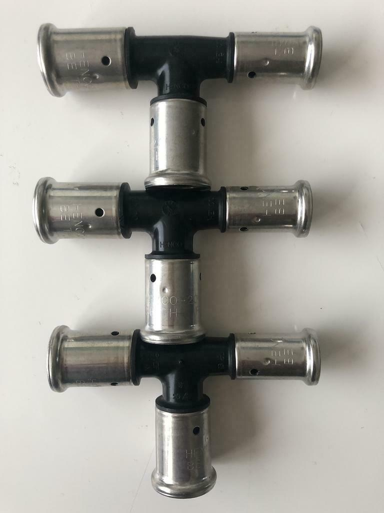 Henco Press perskoppeling T-stuk 20x20x16 mm (3 Stuks).