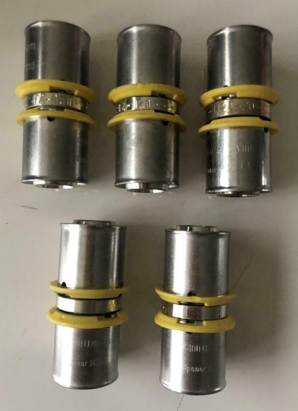 Uponor MLC-G GAS plus perskoppeling recht 20mm (5 Stuks).