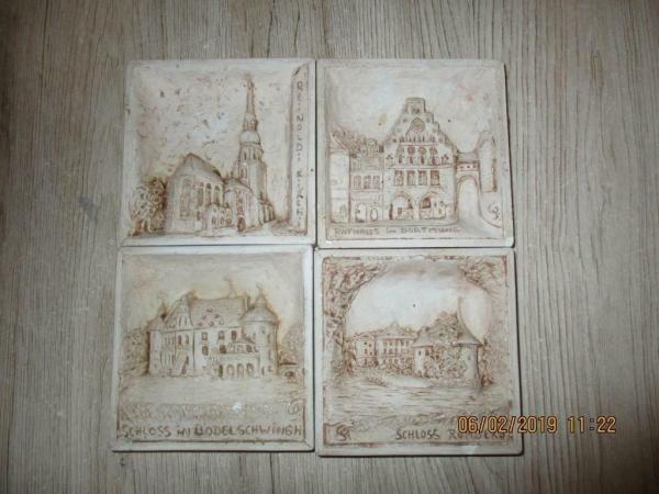 4 Mini stenen/gips achtige schilderijen maat 9,5 x 9,5 cm