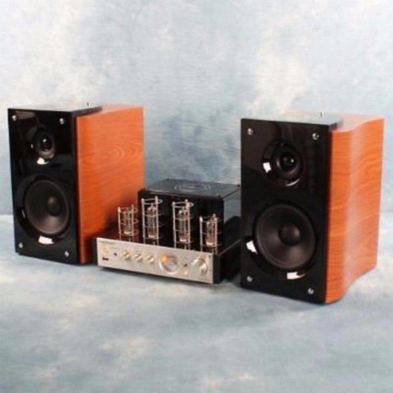 HiFi 4 buizen versterker metUSB ,bluetooth,Speakers (Zwart)