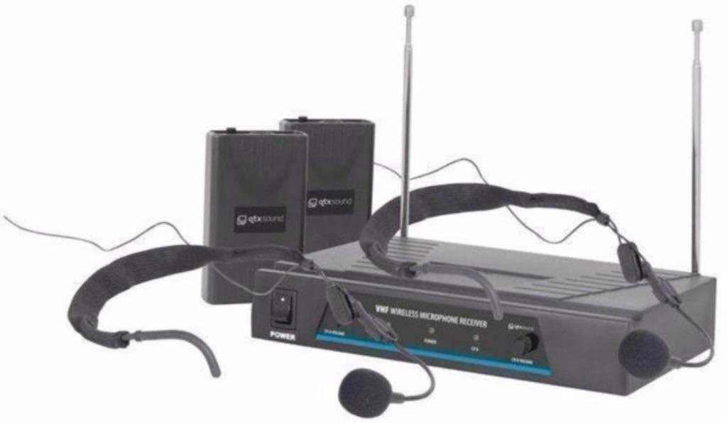 Dubbele draadloze headset microfoon set (819-E)