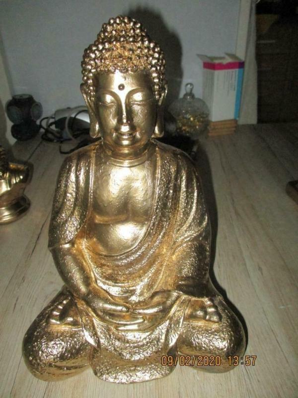 Groot gouden boeddha beeld 21 x 18 x 32 cm