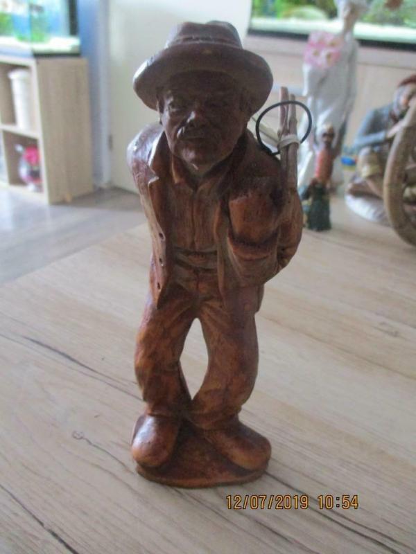 Antieke houten beeld man 17 x 7 cm