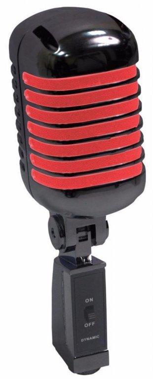 Retro Styl Zangmicrofoon Zwart/Rood