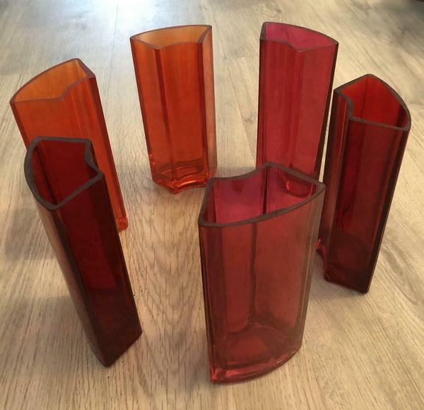 6 Set roze glazen vazen
