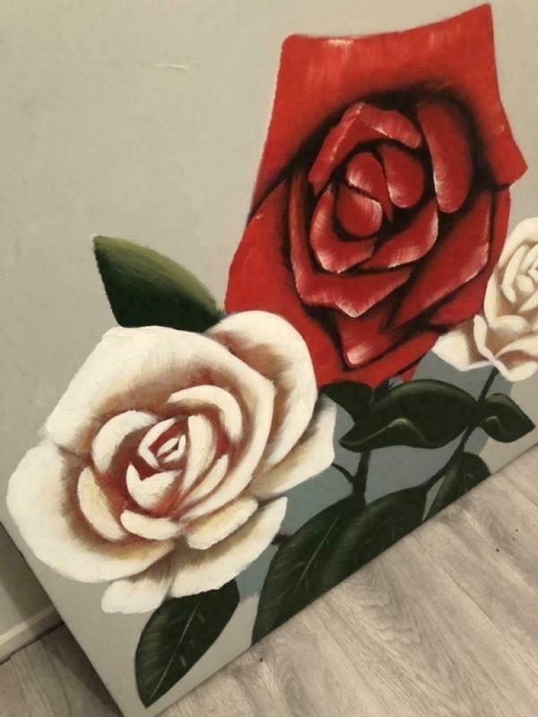 Prachtige Leuk schilderij drie rozen op doek 80x80cm