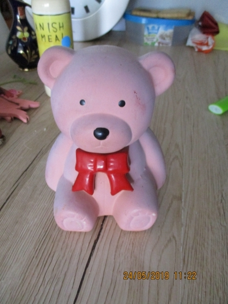 roze stenen beer 15 x 12 cm