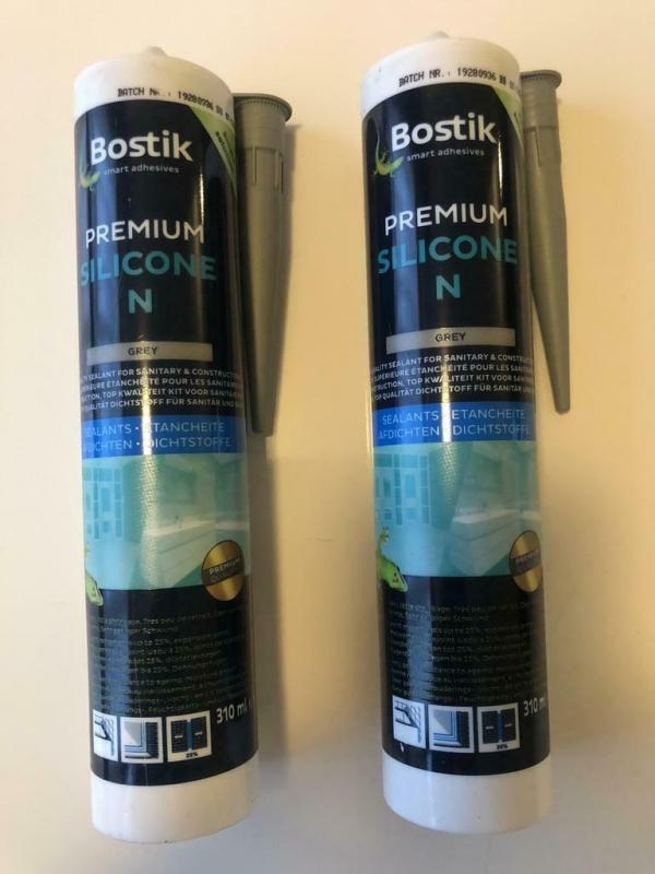 Bostik premium silicone N 310 ml (Grijs). 2 Stuks.