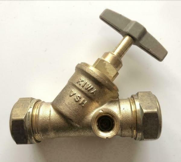 VSH stopkraan 2x22 mm, knel met aftap 1/4, messing