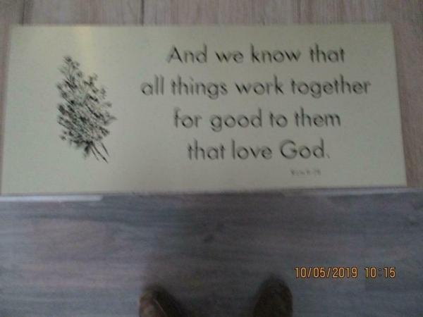 Religie item aluminium plaat met tekst 35 x 15 cm