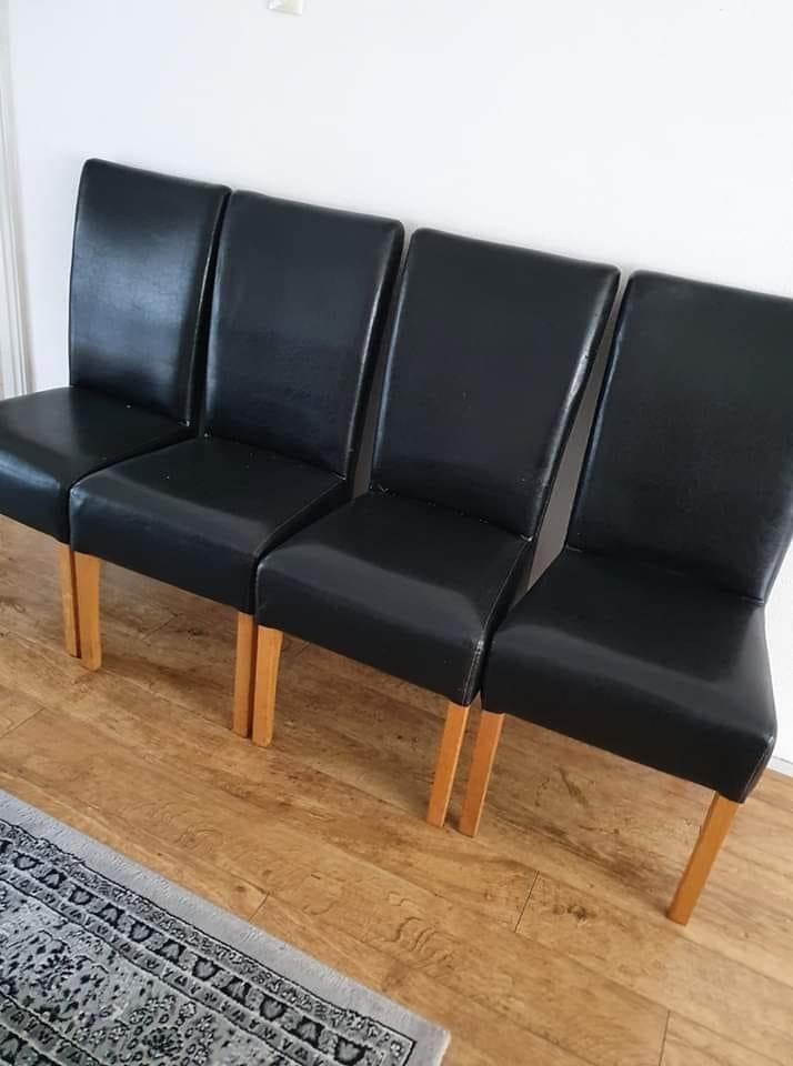 4 Stuks leren eetkamer stoelen