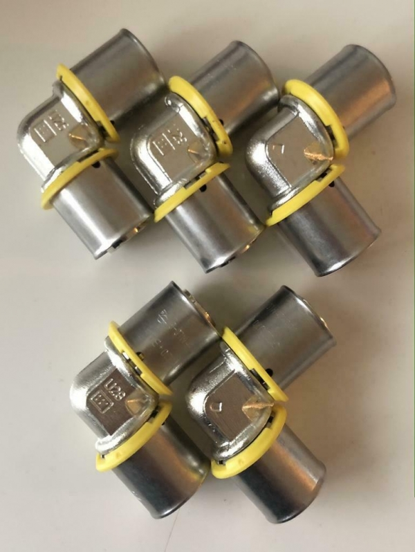 Uponor MLC-G GAS plus perskoppeling knie 20 x 20mm (5 Stuks)