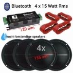Bluetooth Vochtbestendige luidsprekers 13cm Zwart 4x 15Watt