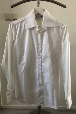 Witte dames hemd lange mouw katoen