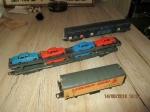Modelbouw 3 treinwagons auto transsporter 30 cm lengte ns wa