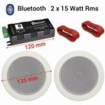 Bluetooth plafond luidspreker set wit 2x 13,5 Cm 60Watt