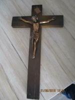 Eikenkruis met jezus, van zwaar koper maat 46 x 27 x 2 cm