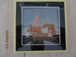3 D schilderijtje van zeilboot 13 x 13 cm