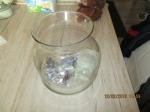 viskom met bodem bedekking en schelpen
