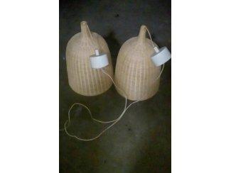 2 Stuks mandwerk lampenkappen 52cm Hoog.